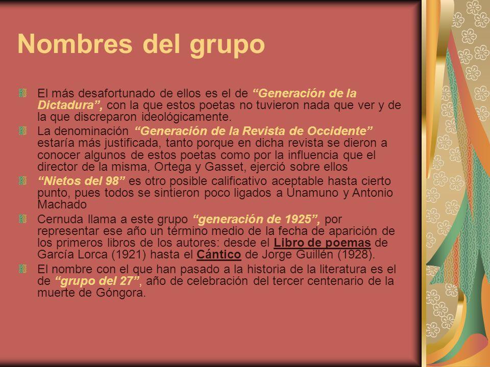 Federico García Lorca, Luis Cernuda y Vicente Aleixandre Sentados de Izquierda a Derecha, Gerardo Diego, Jorge Guillén, Vicente Aleixandre, Melchor Fdez Almagro y Dámaso Alonso.