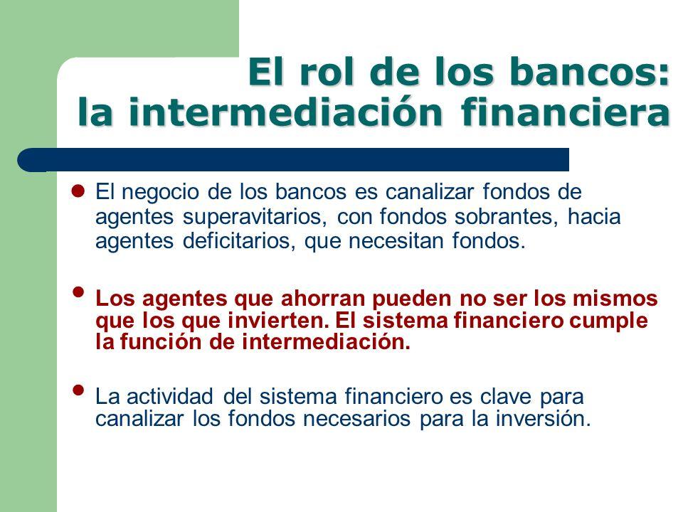 El rol de los bancos: la intermediación financiera El negocio de los bancos es canalizar fondos de agentes superavitarios, con fondos sobrantes, hacia