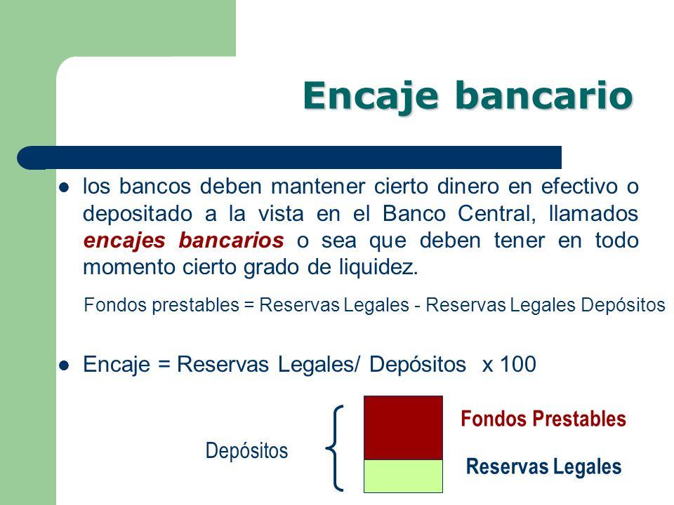 Encaje bancario los bancos deben mantener cierto dinero en efectivo o depositado a la vista en el Banco Central, llamados encajes bancarios o sea que