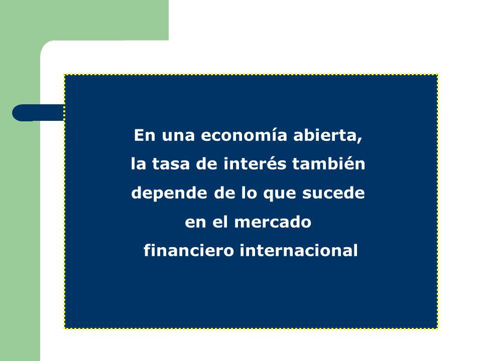 En una economía abierta, la tasa de interés también depende de lo que sucede en el mercado financiero internacional