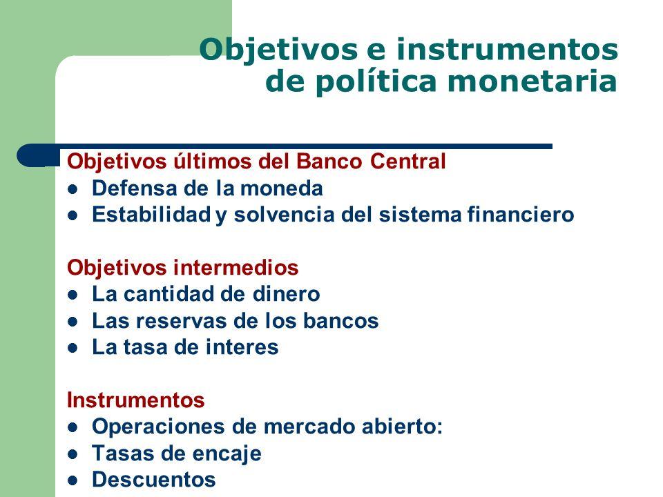 Objetivos e instrumentos de política monetaria Objetivos últimos del Banco Central Defensa de la moneda Estabilidad y solvencia del sistema financiero