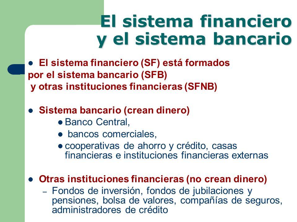El sistema financiero y el sistema bancario El sistema financiero (SF) está formados por el sistema bancario (SFB) y otras instituciones financieras (