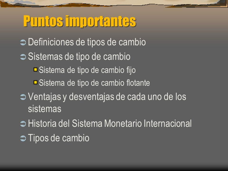Puntos importantes Definiciones de tipos de cambio Sistemas de tipo de cambio Sistema de tipo de cambio fijo Sistema de tipo de cambio flotante Ventaj