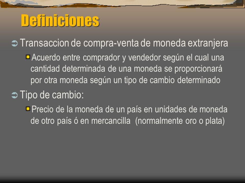 Definiciones Transaccion de compra-venta de moneda extranjera Acuerdo entre comprador y vendedor según el cual una cantidad determinada de una moneda