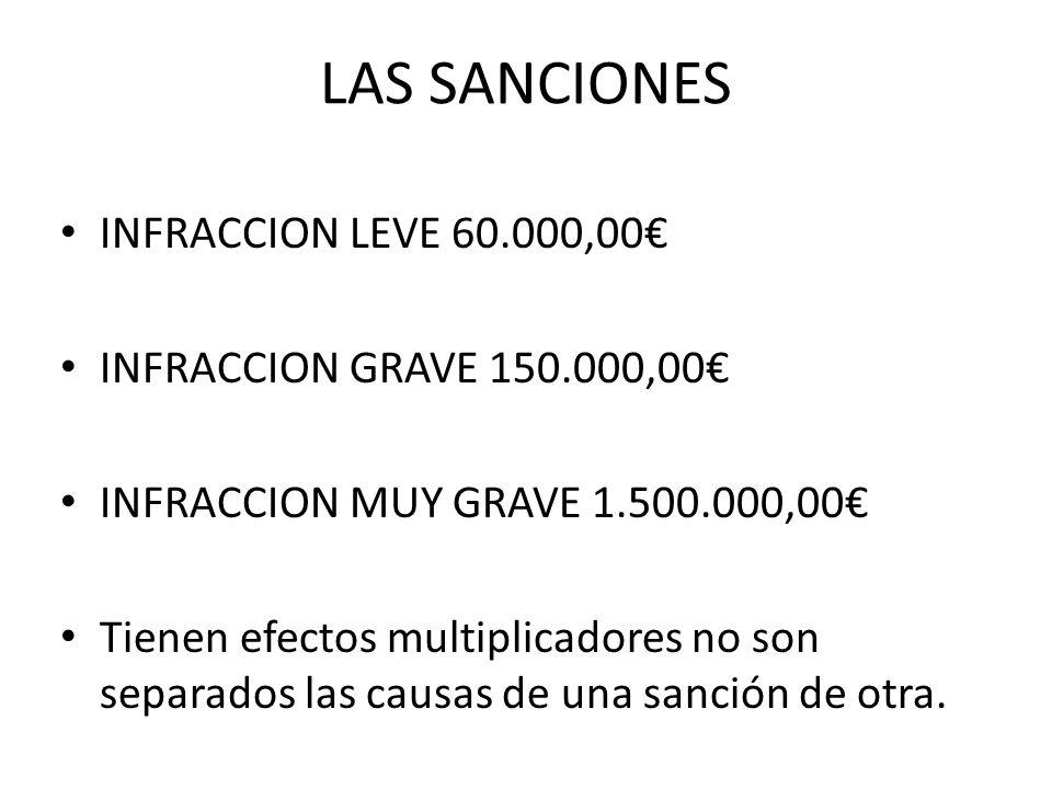 LAS SANCIONES INFRACCION LEVE 60.000,00 INFRACCION GRAVE 150.000,00 INFRACCION MUY GRAVE 1.500.000,00 Tienen efectos multiplicadores no son separados