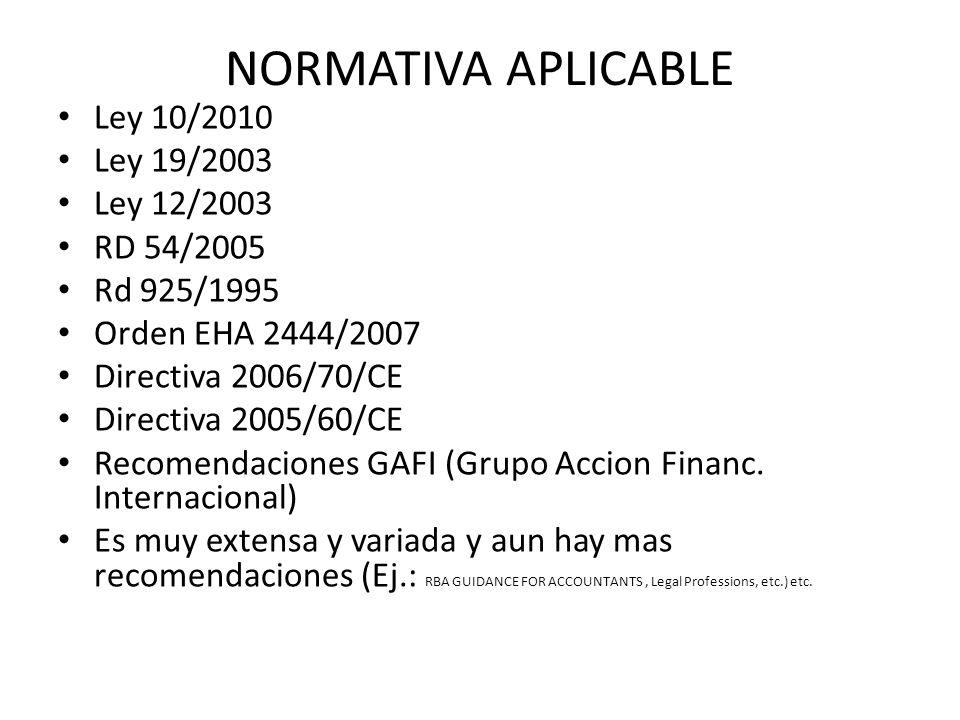 NORMATIVA APLICABLE Ley 10/2010 Ley 19/2003 Ley 12/2003 RD 54/2005 Rd 925/1995 Orden EHA 2444/2007 Directiva 2006/70/CE Directiva 2005/60/CE Recomenda
