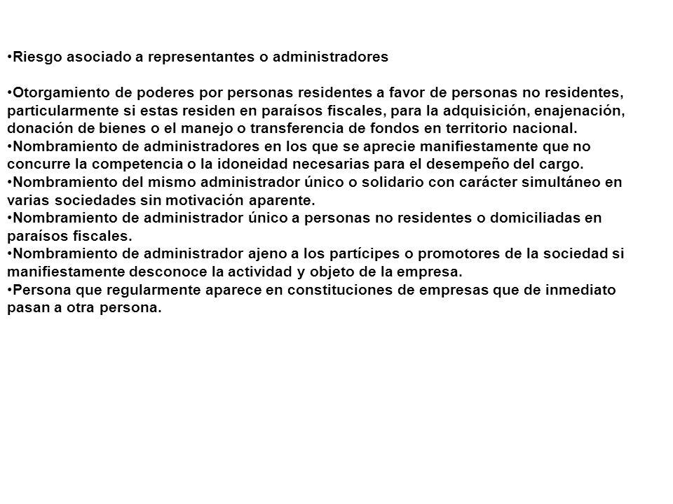 Riesgo asociado a representantes o administradores Otorgamiento de poderes por personas residentes a favor de personas no residentes, particularmente