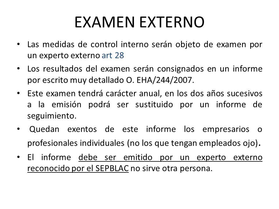 EXAMEN EXTERNO Las medidas de control interno serán objeto de examen por un experto externo art 28 Los resultados del examen serán consignados en un i