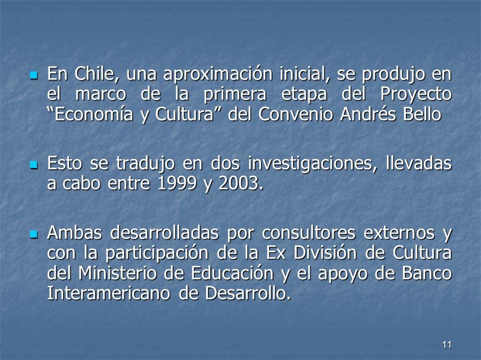 11 En Chile, una aproximación inicial, se produjo en el marco de la primera etapa del Proyecto Economía y Cultura del Convenio Andrés Bello En Chile, una aproximación inicial, se produjo en el marco de la primera etapa del Proyecto Economía y Cultura del Convenio Andrés Bello Esto se tradujo en dos investigaciones, llevadas a cabo entre 1999 y 2003.