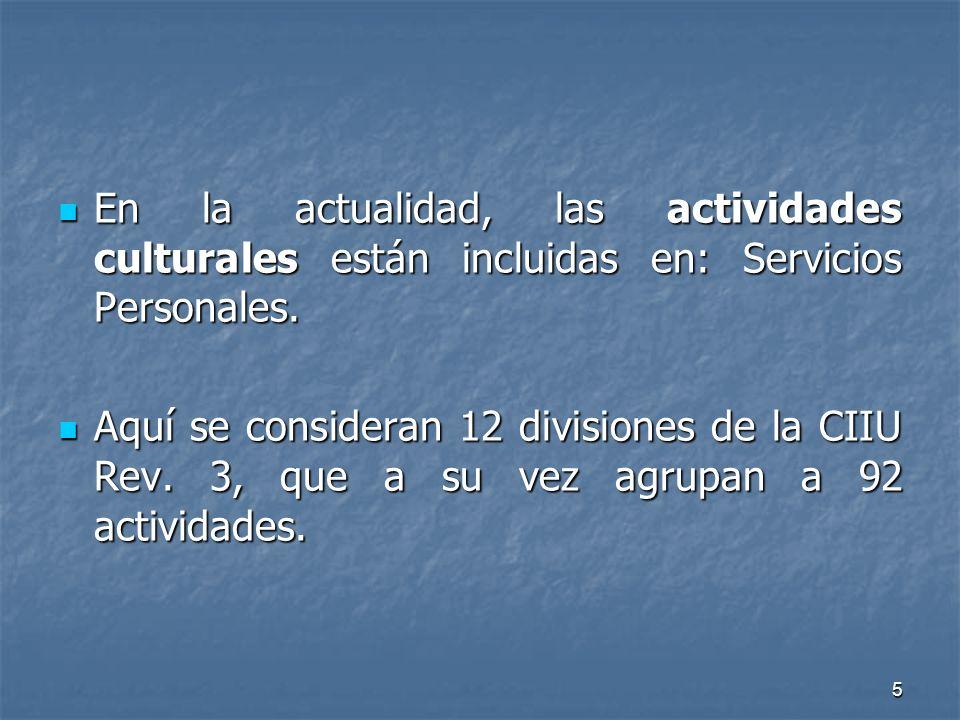 5 En la actualidad, las actividades culturales están incluidas en: Servicios Personales. En la actualidad, las actividades culturales están incluidas