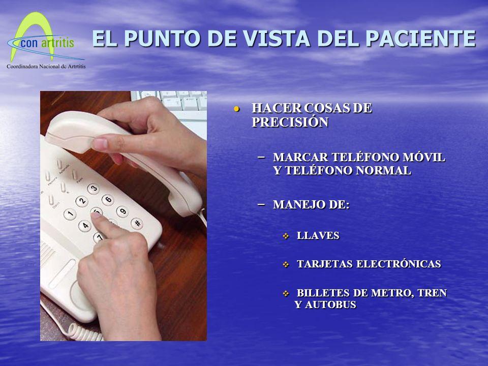 HACER COSAS DE PRECISIÓN HACER COSAS DE PRECISIÓN – MARCAR TELÉFONO MÓVIL Y TELÉFONO NORMAL – MANEJO DE: LLAVES TARJETAS ELECTRÓNICAS BILLETES DE METRO, TREN Y AUTOBUS EL PUNTO DE VISTA DEL PACIENTE