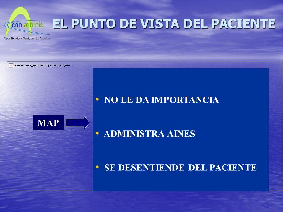 MAP NO LE DA IMPORTANCIA ADMINISTRA AINES SE DESENTIENDE DEL PACIENTE EL PUNTO DE VISTA DEL PACIENTE