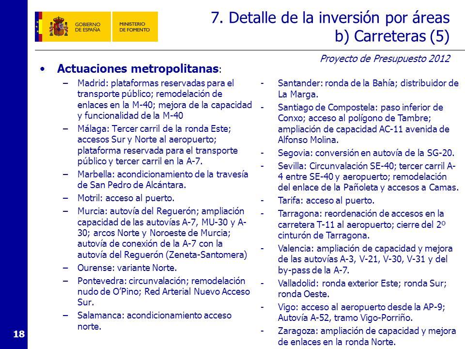 Proyecto de Presupuesto 2012 18 7. Detalle de la inversión por áreas b) Carreteras (5) Actuaciones metropolitanas : –Madrid: plataformas reservadas pa