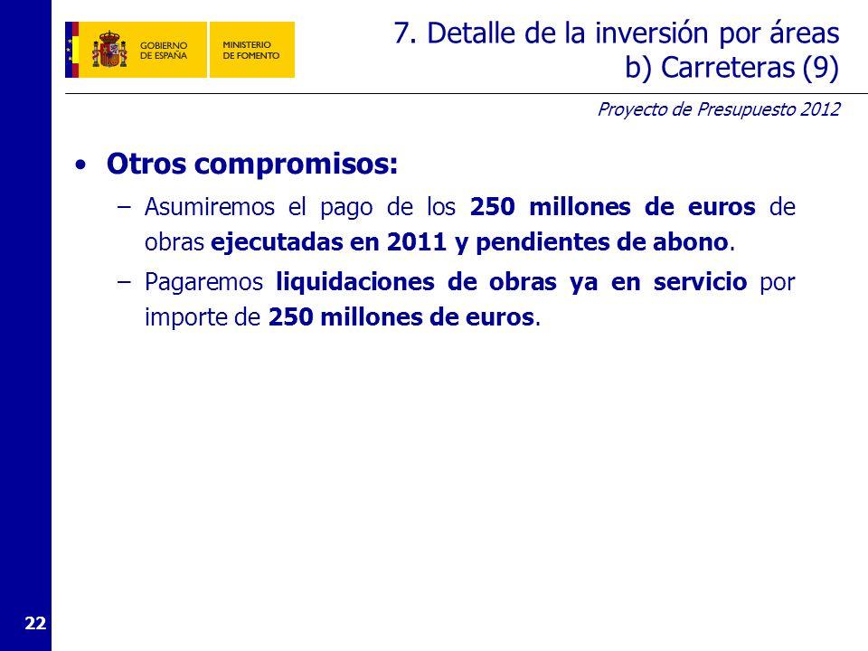 Proyecto de Presupuesto 2012 22 7. Detalle de la inversión por áreas b) Carreteras (9) Otros compromisos: –Asumiremos el pago de los 250 millones de e