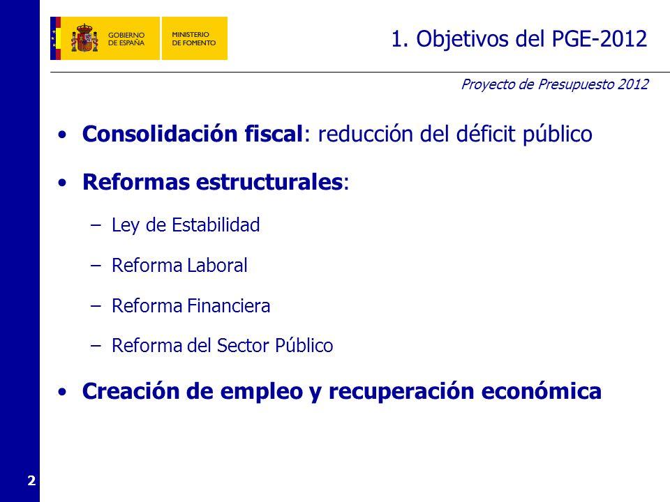 Proyecto de Presupuesto 2012 2 1. Objetivos del PGE-2012 Consolidación fiscal: reducción del déficit público Reformas estructurales: –Ley de Estabilid