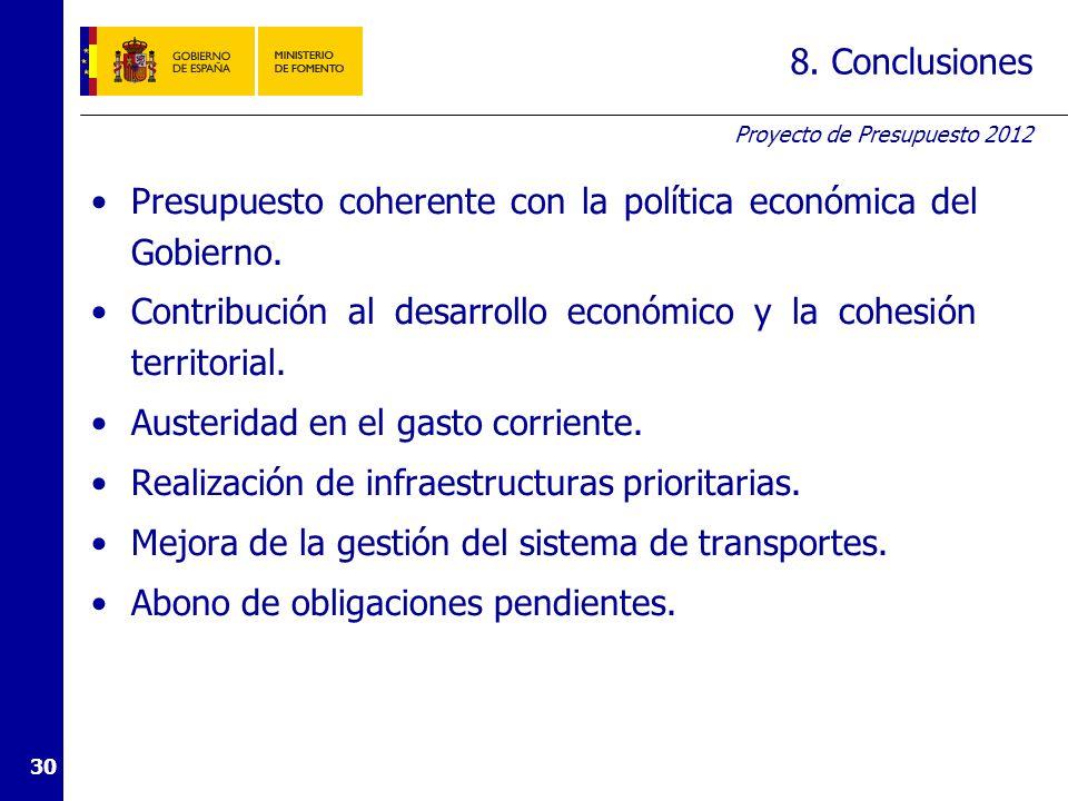 Proyecto de Presupuesto 2012 30 8. Conclusiones Presupuesto coherente con la política económica del Gobierno. Contribución al desarrollo económico y l