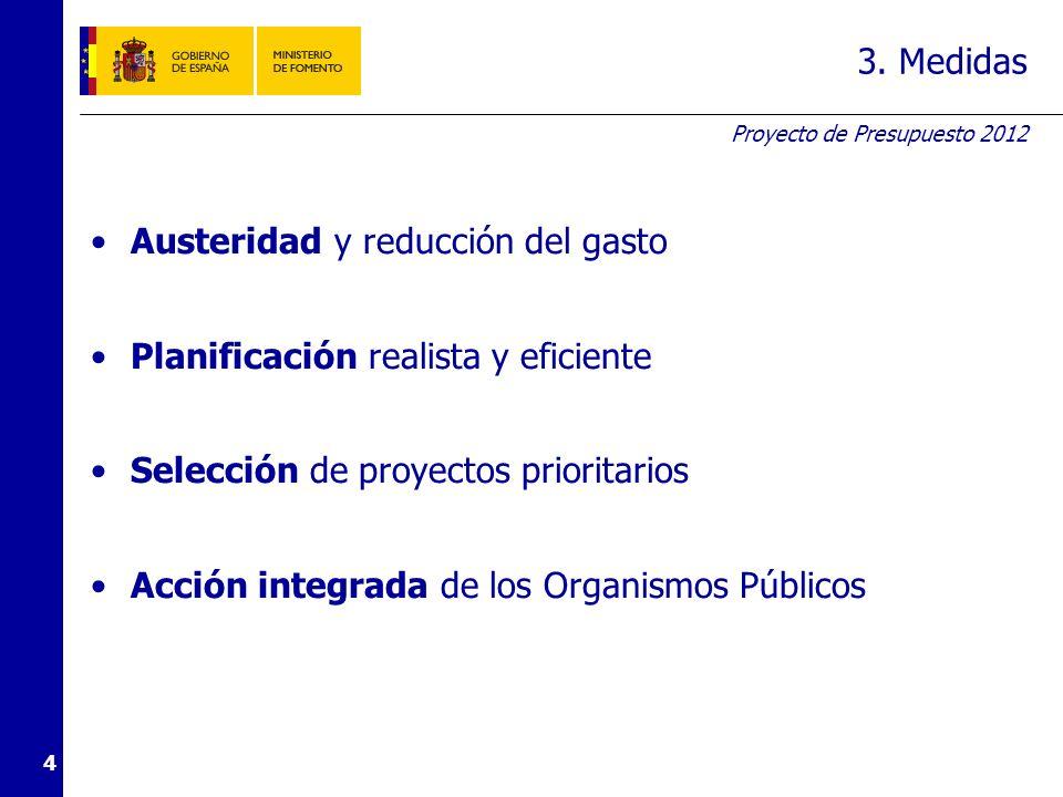 Proyecto de Presupuesto 2012 4 3. Medidas Austeridad y reducción del gasto Planificación realista y eficiente Selección de proyectos prioritarios Acci