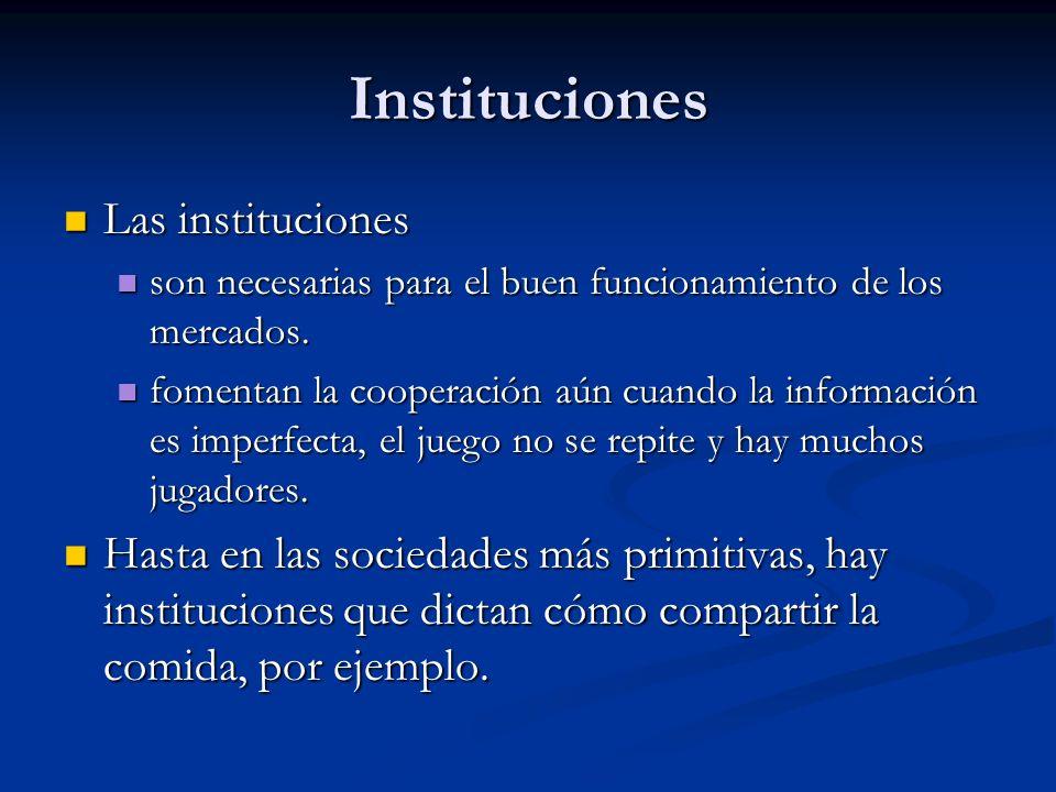 Instituciones Las instituciones Las instituciones son necesarias para el buen funcionamiento de los mercados.