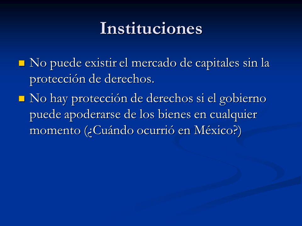Instituciones No puede existir el mercado de capitales sin la protección de derechos. No puede existir el mercado de capitales sin la protección de de