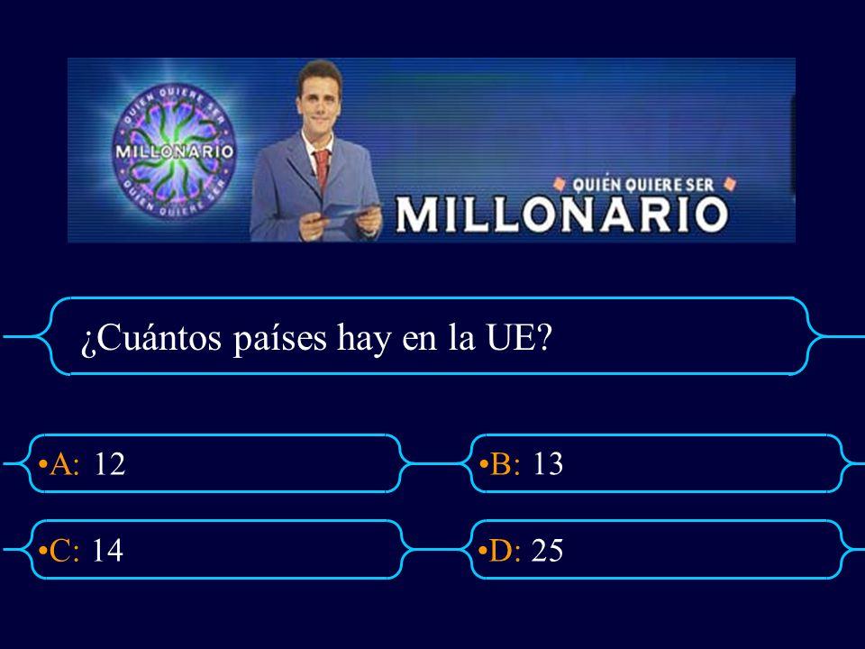 A:B: D:C: ¿Cuántos países hay en la UE? 12 1425 13