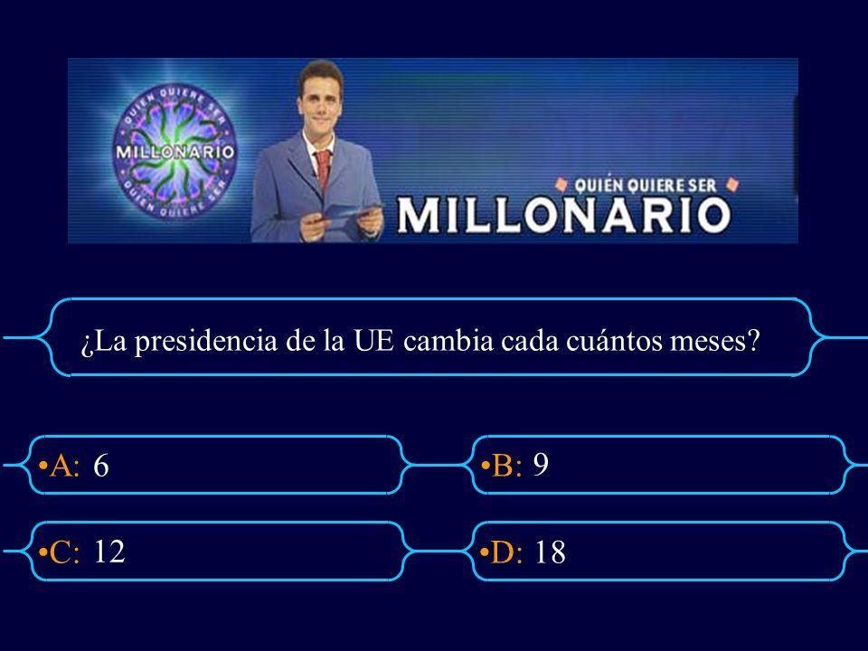A:B: D:C: ¿La presidencia de la UE cambia cada cuántos meses? 6 9 18 12