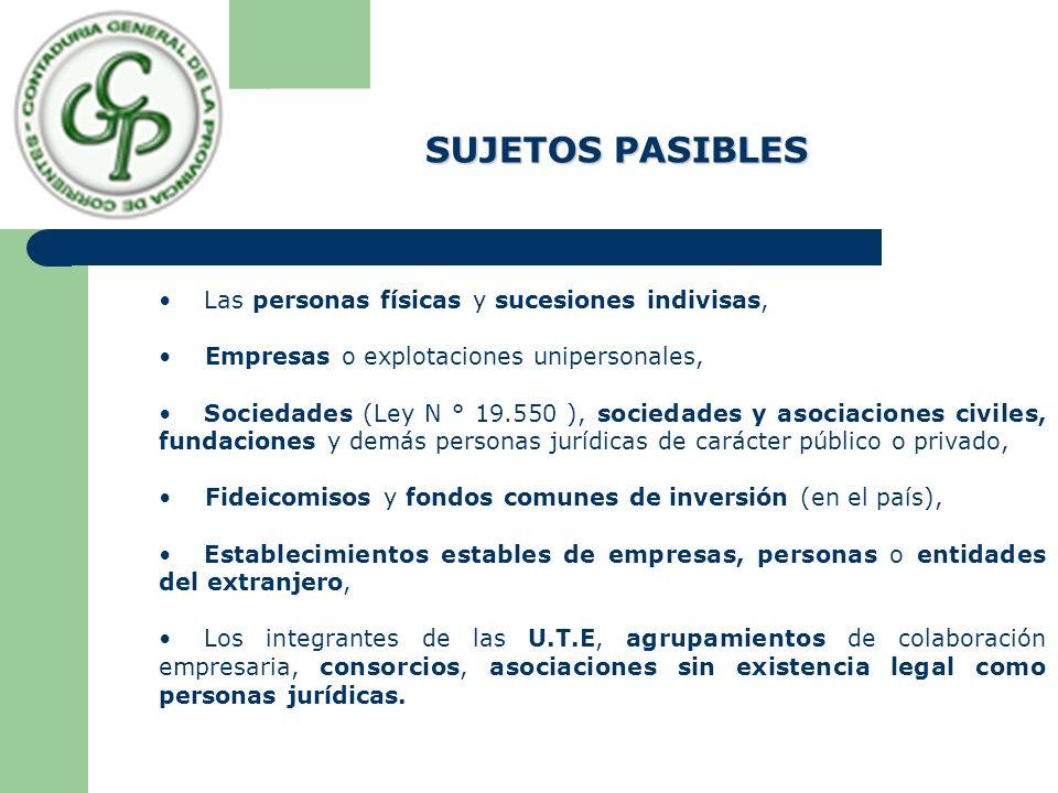 Las personas físicas y sucesiones indivisas, Empresas o explotaciones unipersonales, Sociedades (Ley N ° 19.550 ), sociedades y asociaciones civiles,