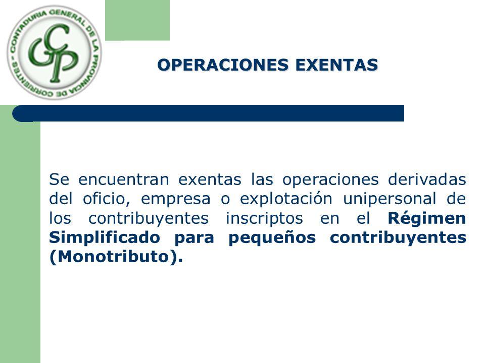 Se encuentran exentas las operaciones derivadas del oficio, empresa o explotación unipersonal de los contribuyentes inscriptos en el Régimen Simplificado para pequeños contribuyentes (Monotributo).