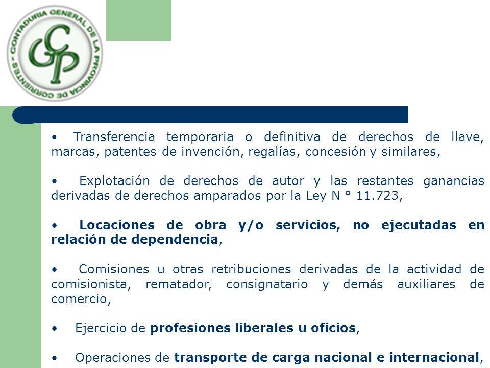 Transferencia temporaria o definitiva de derechos de llave, marcas, patentes de invención, regalías, concesión y similares, Explotación de derechos de