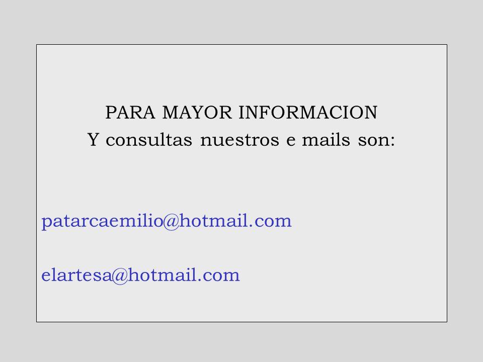 PARA MAYOR INFORMACION Y consultas nuestros e mails son: patarcaemilio@hotmail.com elartesa@hotmail.com