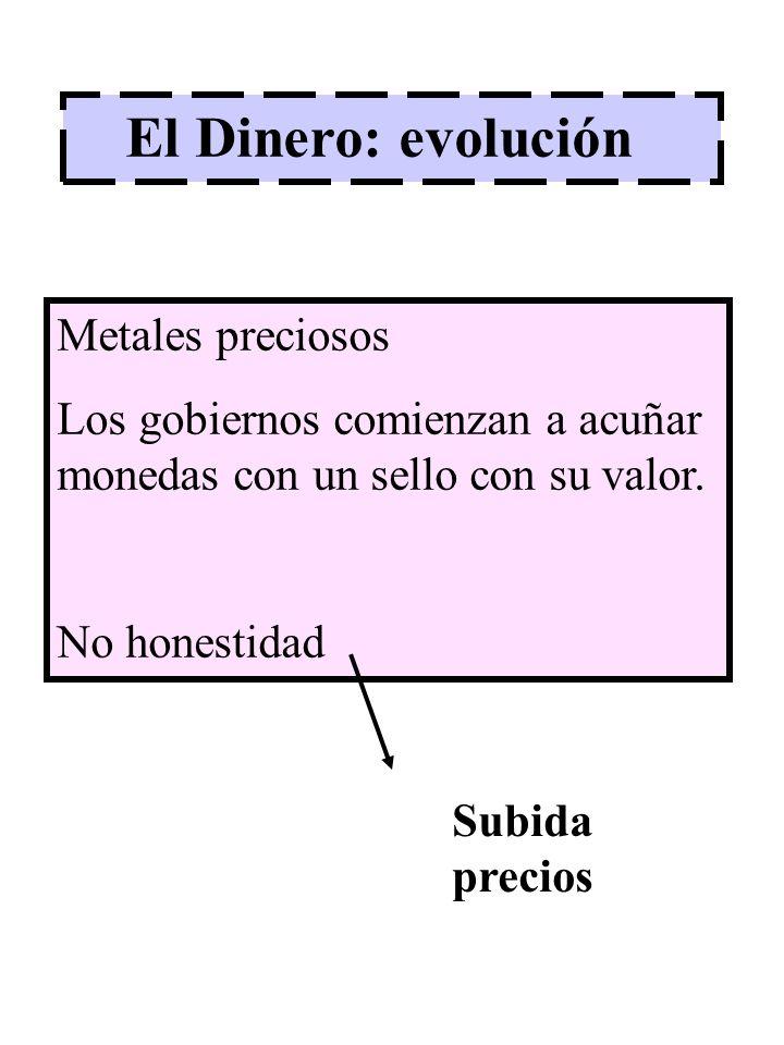 El Dinero: evolución Metales preciosos Los gobiernos comienzan a acuñar monedas con un sello con su valor. No honestidad Subida precios