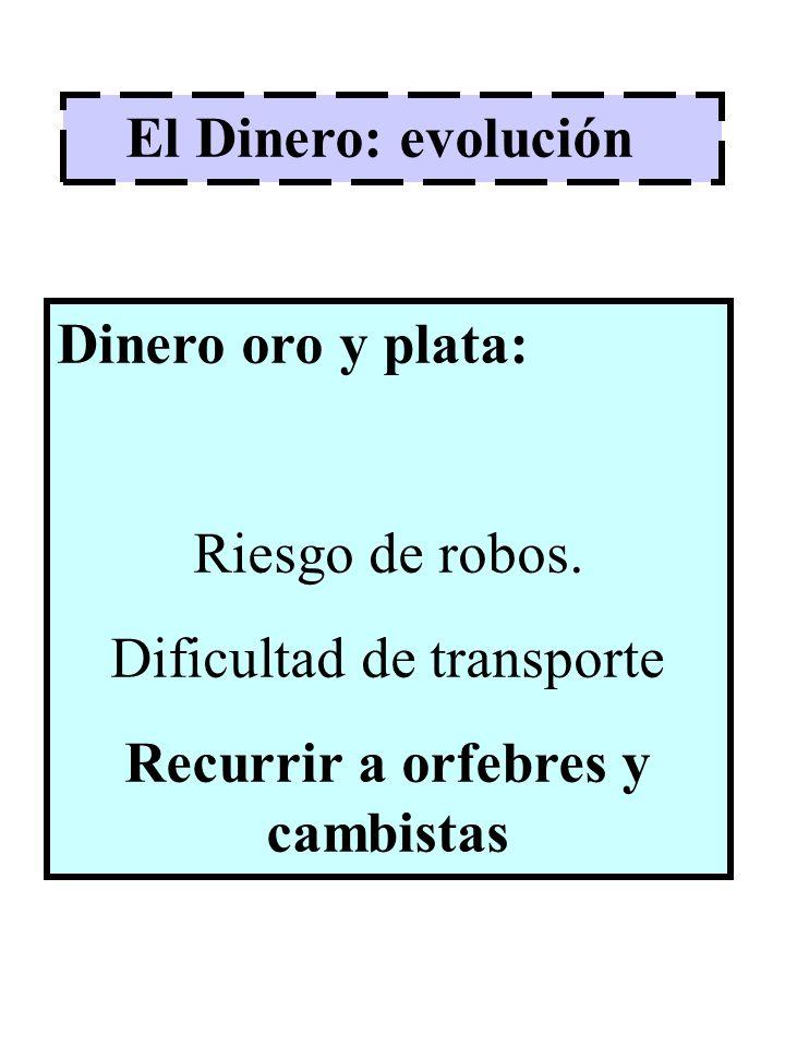 El Dinero: evolución Dinero oro y plata: Riesgo de robos. Dificultad de transporte Recurrir a orfebres y cambistas