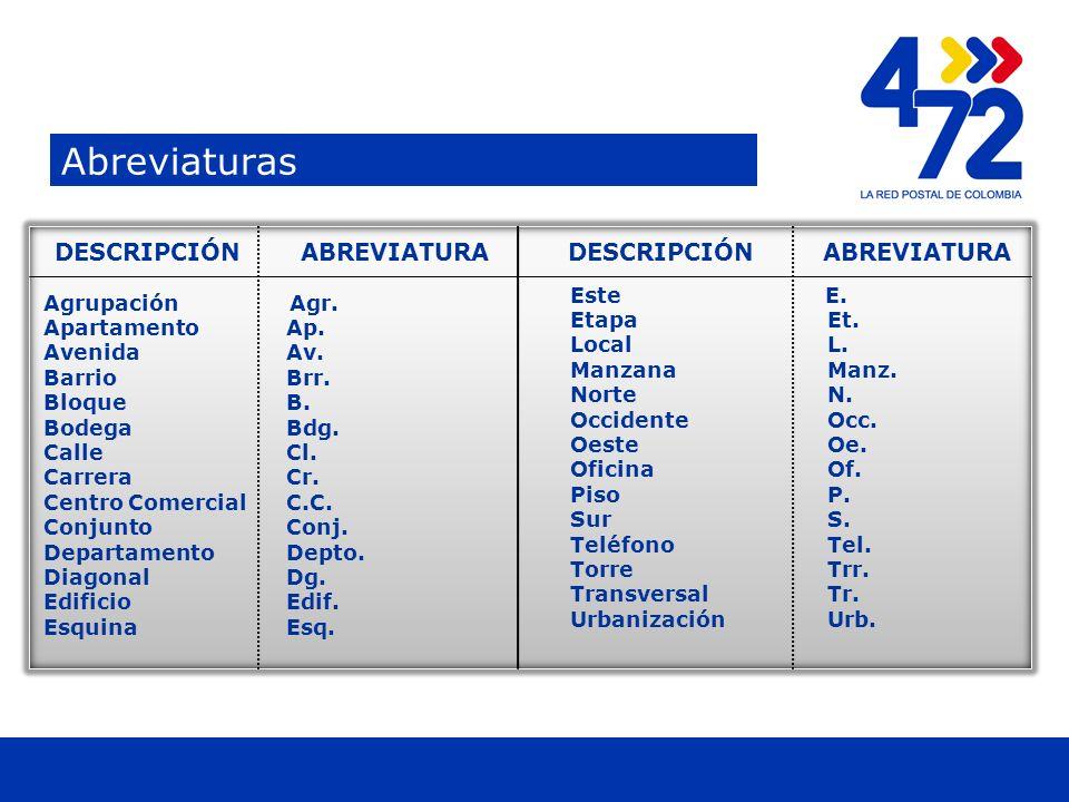 Titulo Abreviaturas Titulo Agrupación Agr.Apartamento Ap.