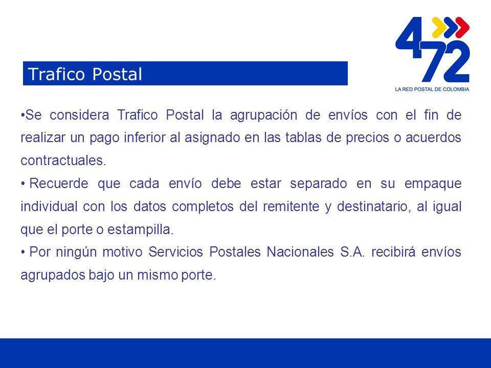Titulo Trafico Postal Se considera Trafico Postal la agrupación de envíos con el fin de realizar un pago inferior al asignado en las tablas de precios o acuerdos contractuales.