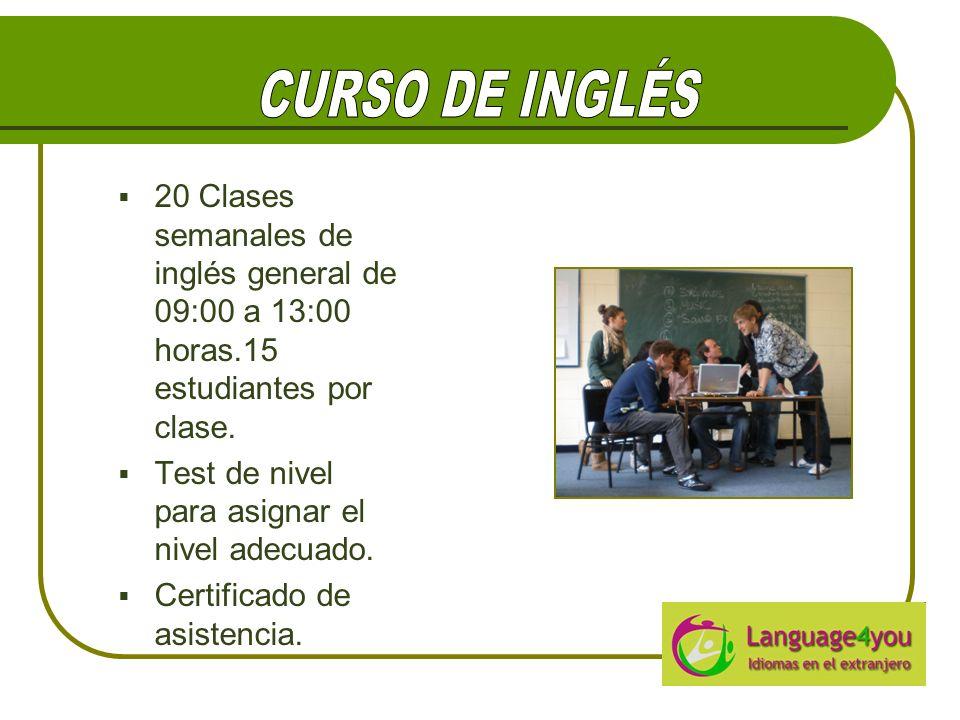 20 Clases semanales de inglés general de 09:00 a 13:00 horas.15 estudiantes por clase.