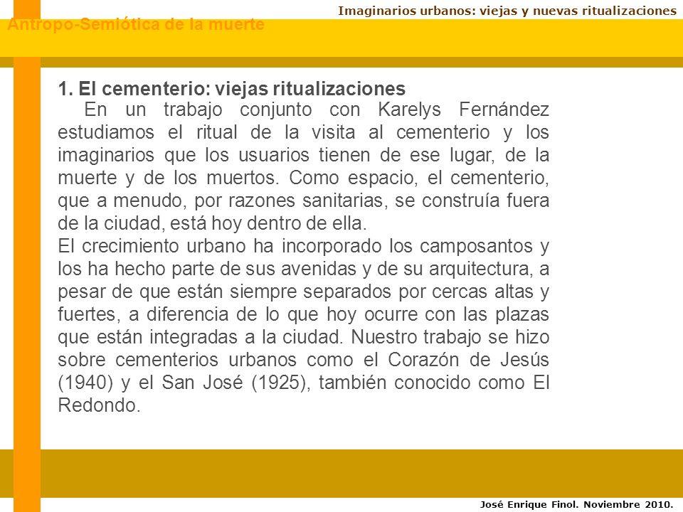 Imaginarios urbanos: viejas y nuevas ritualizaciones En un trabajo conjunto con Karelys Fernández estudiamos el ritual de la visita al cementerio y los imaginarios que los usuarios tienen de ese lugar, de la muerte y de los muertos.