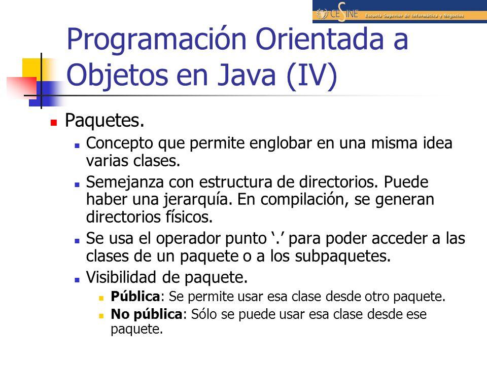 Programación Orientada a Objetos en Java (IV) Paquetes. Concepto que permite englobar en una misma idea varias clases. Semejanza con estructura de dir