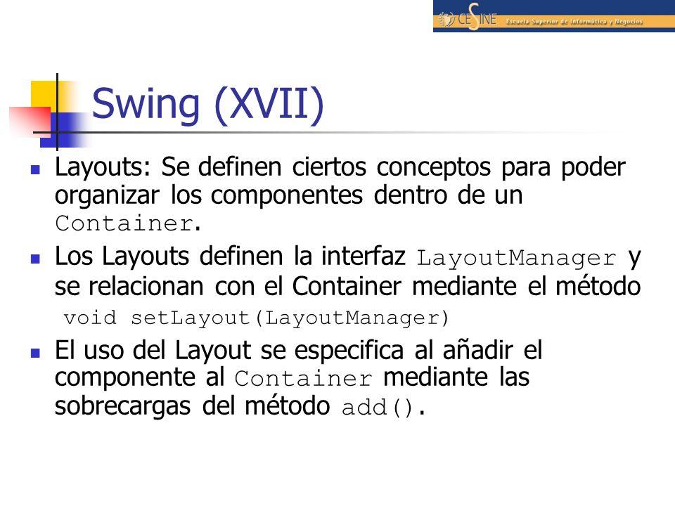 Swing (XVII) Layouts: Se definen ciertos conceptos para poder organizar los componentes dentro de un Container. Los Layouts definen la interfaz Layout
