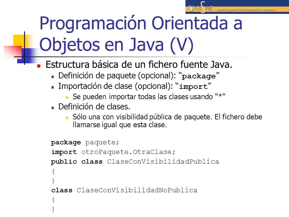Programación Orientada a Objetos en Java (V) Estructura básica de un fichero fuente Java. Definición de paquete (opcional): package Importación de cla
