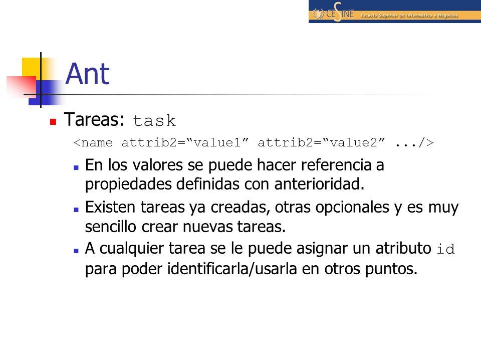 Ant Tareas: task En los valores se puede hacer referencia a propiedades definidas con anterioridad. Existen tareas ya creadas, otras opcionales y es m