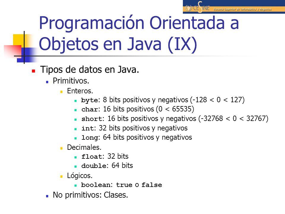 Programación Orientada a Objetos en Java (IX) Tipos de datos en Java. Primitivos. Enteros. byte : 8 bits positivos y negativos (-128 < 0 < 127) char :