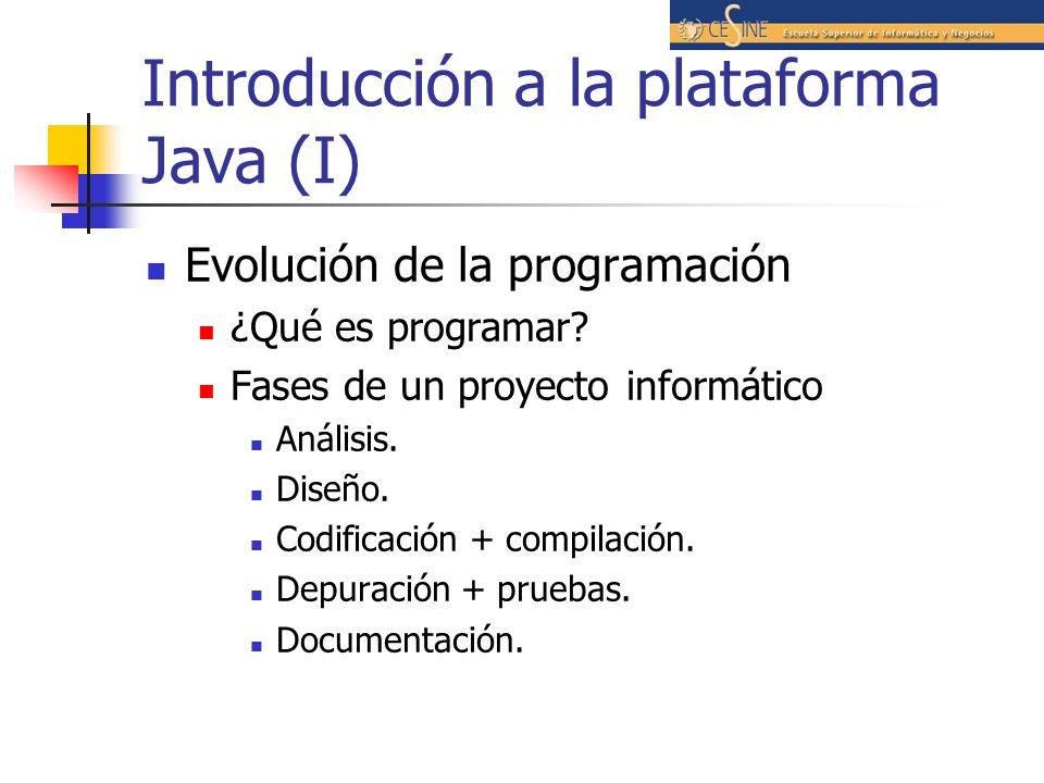 Introducción a la plataforma Java (I) Evolución de la programación ¿Qué es programar? Fases de un proyecto informático Análisis. Diseño. Codificación
