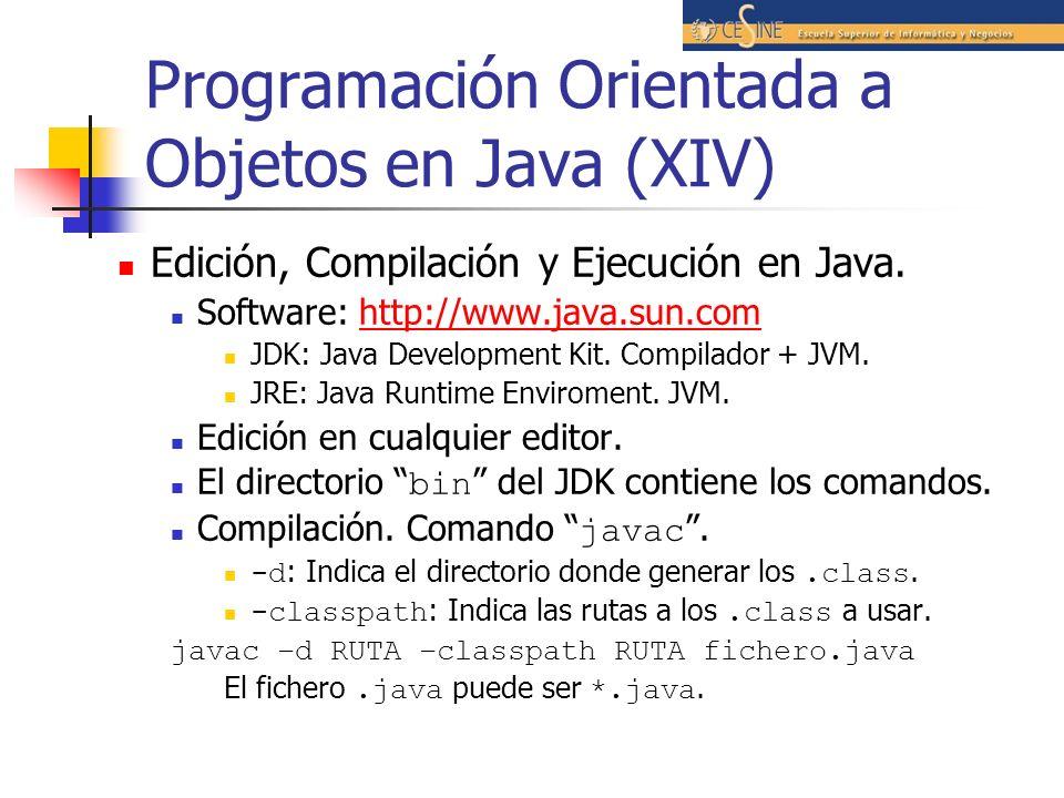 Programación Orientada a Objetos en Java (XIV) Edición, Compilación y Ejecución en Java. Software: http://www.java.sun.comhttp://www.java.sun.com JDK: