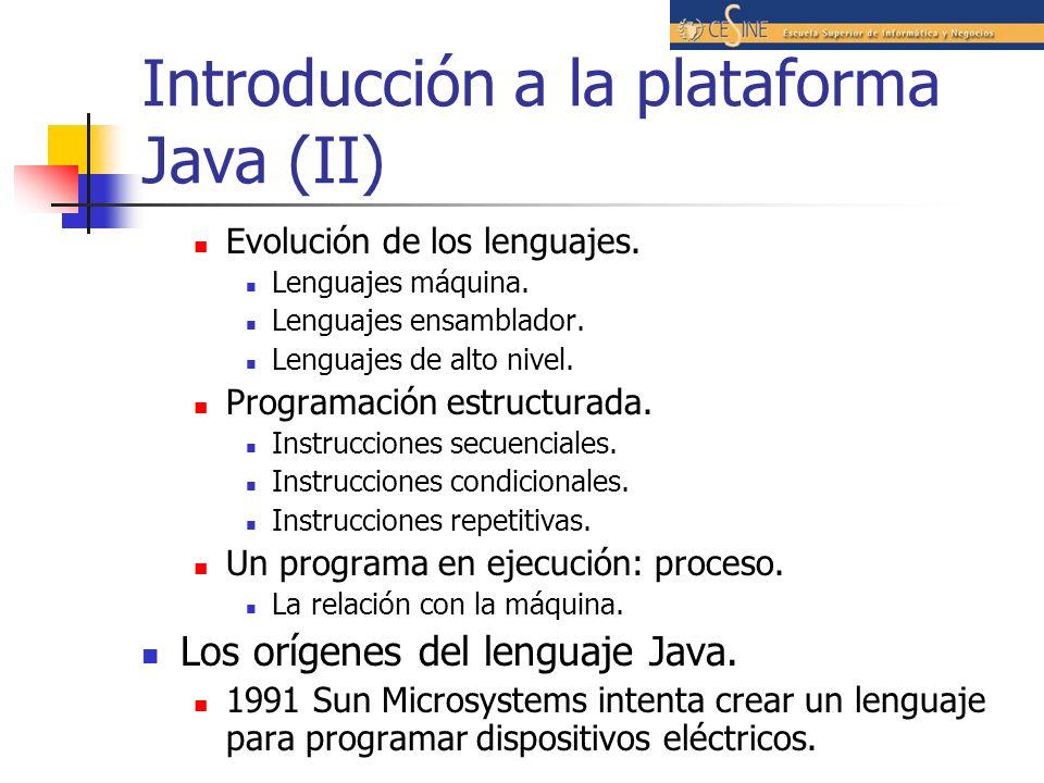 Introducción a la plataforma Java (II) Evolución de los lenguajes. Lenguajes máquina. Lenguajes ensamblador. Lenguajes de alto nivel. Programación est
