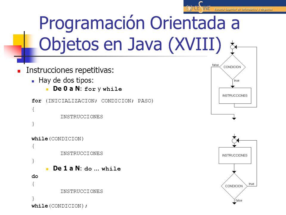 Programación Orientada a Objetos en Java (XVIII) Instrucciones repetitivas: Hay de dos tipos: De 0 a N: for y while for (INICIALIZACION; CONDICION; PA