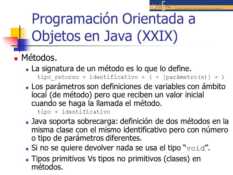 Programación Orientada a Objetos en Java (XXIX) Métodos. La signatura de un método es lo que lo define. tipo_retorno + identificativo + ( + [parámetro