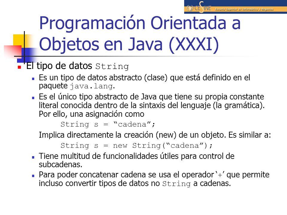 Programación Orientada a Objetos en Java (XXXI) El tipo de datos String Es un tipo de datos abstracto (clase) que está definido en el paquete java.lan