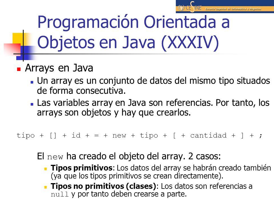 Programación Orientada a Objetos en Java (XXXIV) Arrays en Java Un array es un conjunto de datos del mismo tipo situados de forma consecutiva. Las var