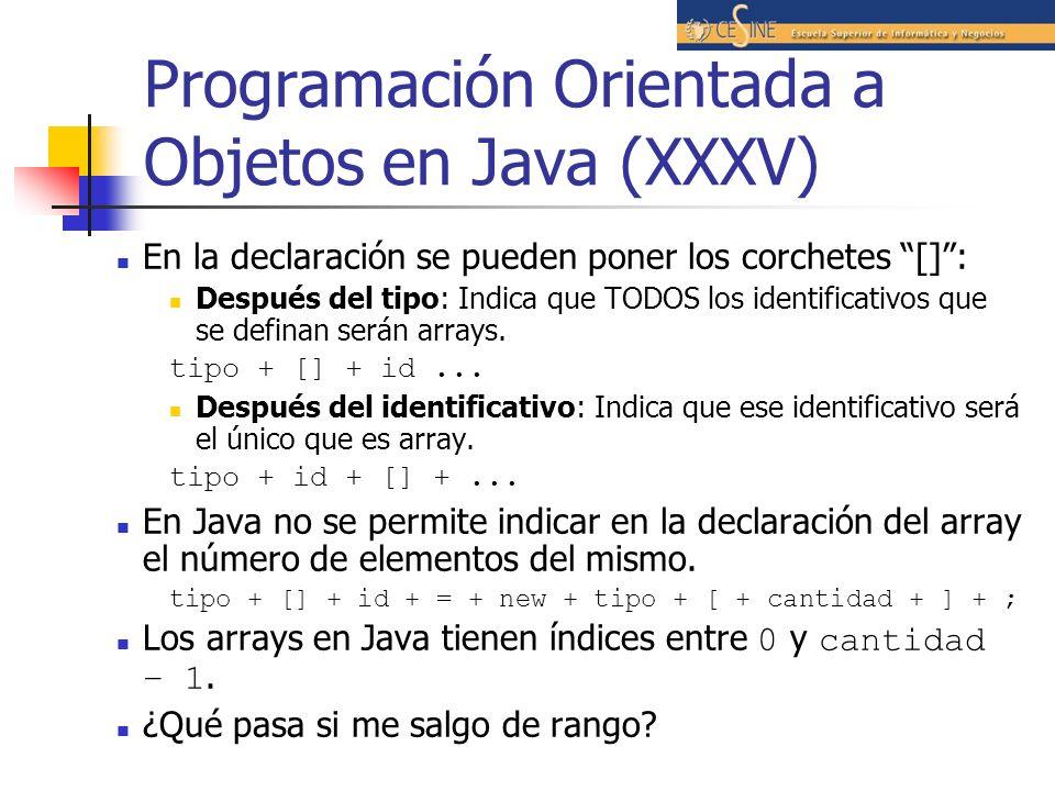 Programación Orientada a Objetos en Java (XXXV) En la declaración se pueden poner los corchetes []: Después del tipo: Indica que TODOS los identificat