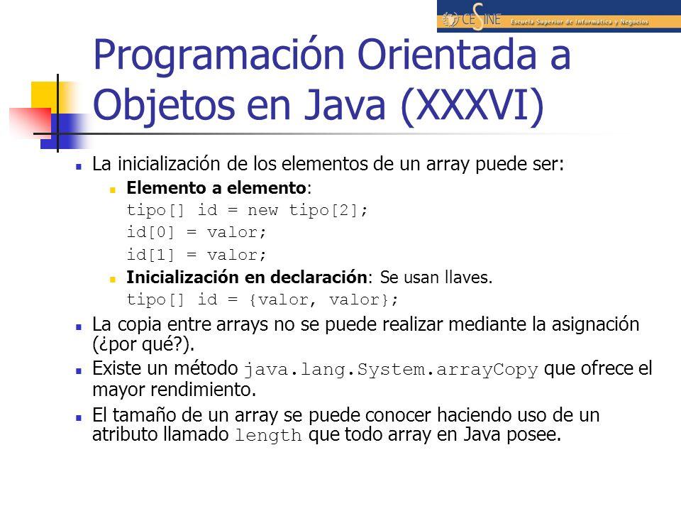 Programación Orientada a Objetos en Java (XXXVI) La inicialización de los elementos de un array puede ser: Elemento a elemento: tipo[] id = new tipo[2