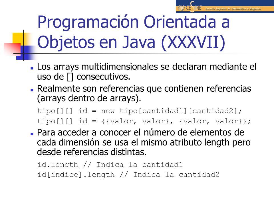 Programación Orientada a Objetos en Java (XXXVII) Los arrays multidimensionales se declaran mediante el uso de [] consecutivos. Realmente son referenc